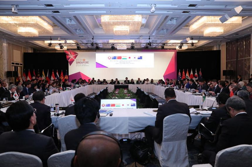 A photo taken on Aug 30, 2018, shows the 6th Regional Comprehensive Economic Partnership Ministerial Meeting, which was held as part of the 50th Asean Economic Ministers Meeting at the Shangri-La Hotel in Singapore.