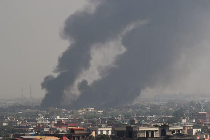 Smoke rises from the site of a Taleban attack in Kabul on Sept 3, 2019.