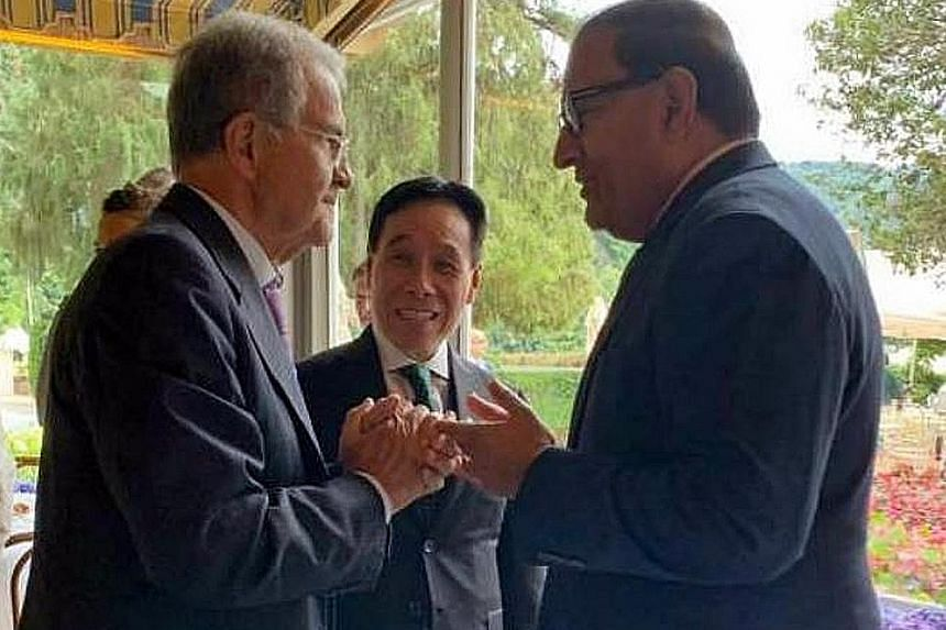Singapore's Minister-in-charge of Trade Relations S. Iswaran (right) exchanging views with former Italian prime minister Romano Prodi last Friday. With them was Singapore's Non-Resident Ambassador to Italy, Mr Ow Chio Kiat. Mr Iswaran was in Italy fo