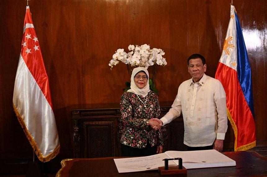 President Halimah Yacob with Philippine President Rodrigo Duterte at the Malacanang Palace in Manila on Sept 9, 2019.