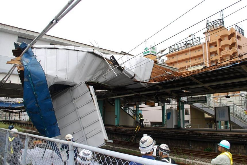A platform roof was destroyed due to strong wind generated by Typhoon Faxai at Higashi-Chiba station in Chiba, near Tokyo, Japan, on Sept 9, 2019.