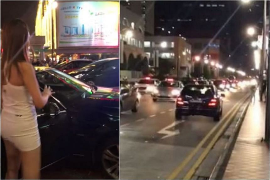 In videos posted on Facebook, a black Mercedes Benz car can be seen moving in a direction opposite to the flow of traffic, on the leftmost lane.