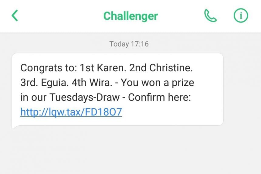In Challenger's case, it involves an SMS sent to its customers that falsely claims they had won a mobile phone in a contest.