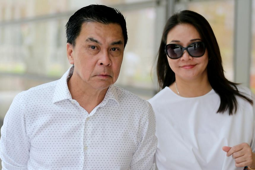 Businessman Toh Eng Tiah and his wife, Madam Chong Lee Yee. Mr Toh is suing his former lover Angelina Jiang to get back $2 million he paid her between December 2016 and March 2017.