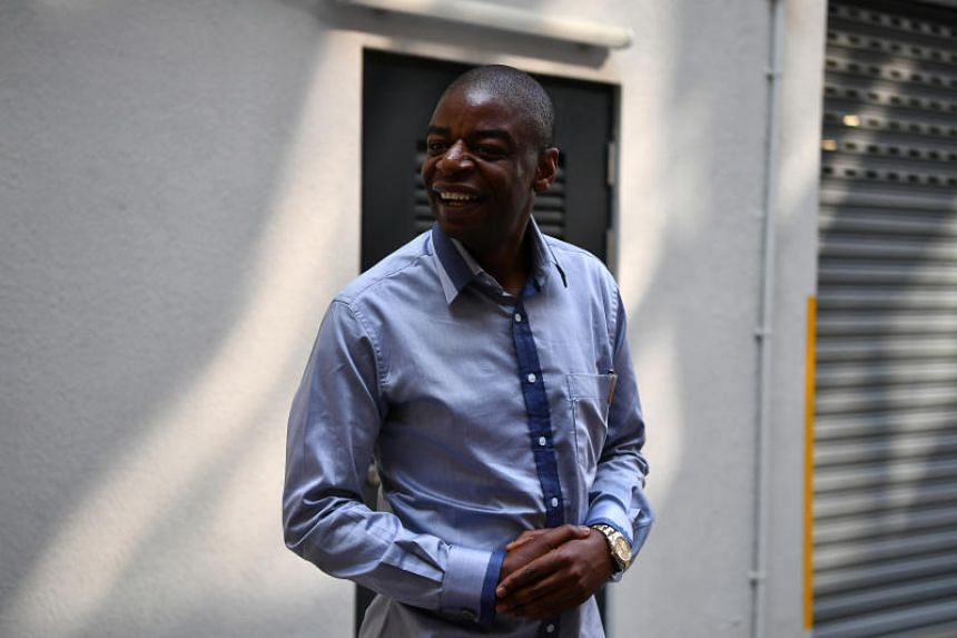Mr Adam Molai, who is married to Sandra Mugabe, the niece of Zimbabwe's ex-president Robert Mugabe, speaking to the media at Singapore Casket on Sept 8, 2019.