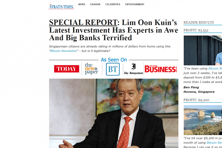 The fake article comes amid false reports designed to look like they are linked to Singapore Press Holdings.