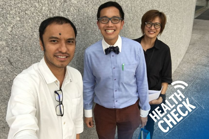 ST correspondent Joyce Teo (right) and podcasting head Ernest Luis (left) host Dr Lai Jiunn Herng (centre) from Lai Endoscopy and Colorectal Surgery at Mount Elizabeth Medical Centre.