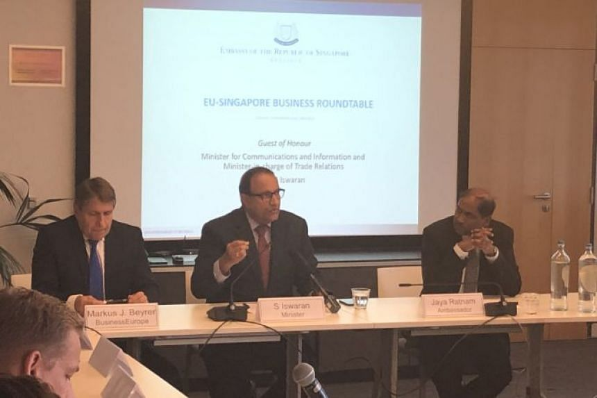 Minister-in-charge of Trade Relations S Iswaran (centre) speaking at the official launch of the EU-Singapore Business Roundtable in Brussels, Sept 9, 2019, with BusinessEurope director general Markus Beyrer (left) and Singapore's Ambassador to Belgiu