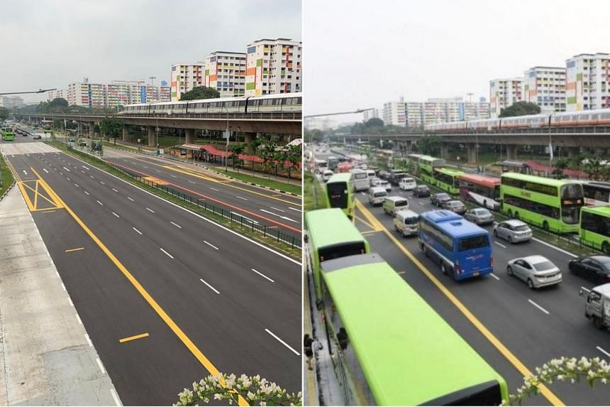 Tuesday's traffic condition (left) was starkly different from that on Monday evening (right), when a long queue of buses formed during the rush hour period. Traffic was also congested during the morning rush hour on Monday.