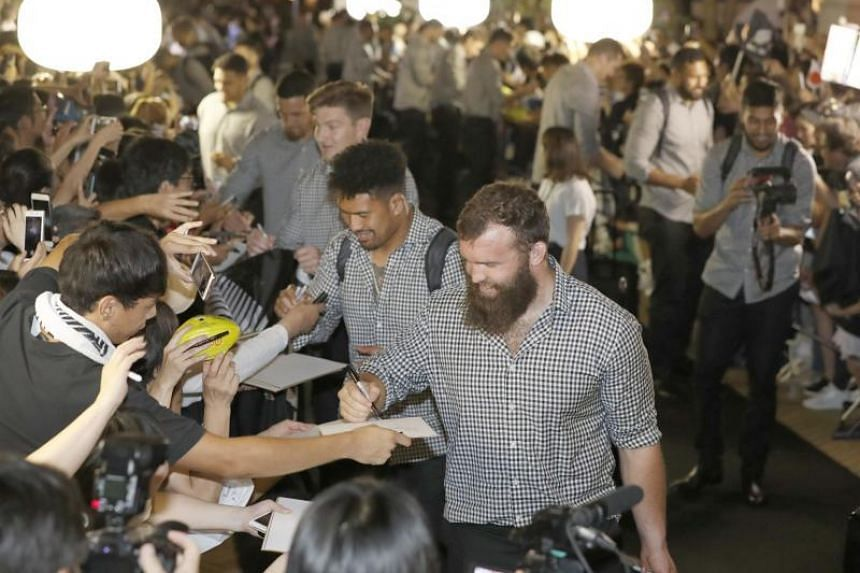 New Zealand's All Blacks arrive at a camp venue for the Rugby World Cup in Kashiwa, japan, on Sept 9, 2019.