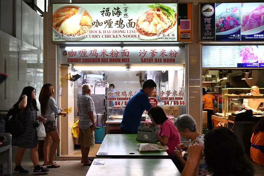 The queue at Hock Hai (Hong Lim) Curry Chicken Noodle stall at Bedok Interchange Hawker Centre on Sept 10, 2019.