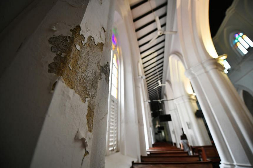 Peeling and blistering of paint inside St Andrew's Cathedral on Sept 10, 2019.