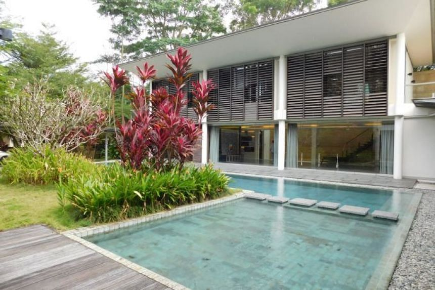 The freehold, two-storey property in Belmont Road has a pool, a basement entertainment area, and parking space for several cars.