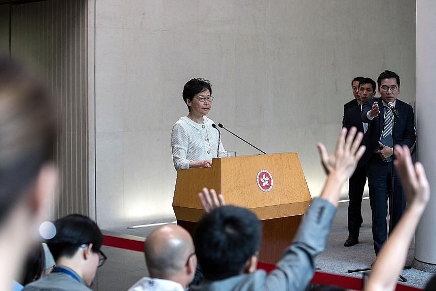 Hong Kong Chief Executive Carrie Lam addressing the media at the Central Government Offices in Hong Kong yesterday.
