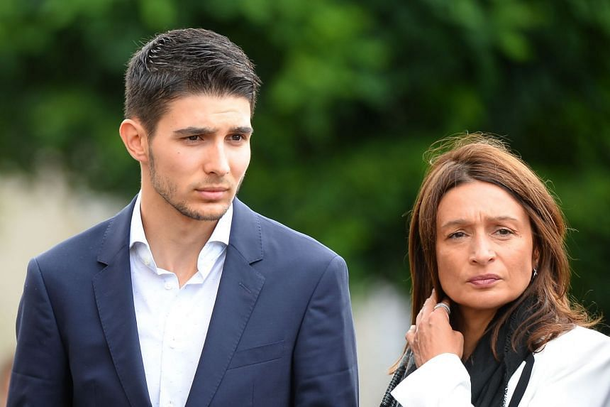 Formula 1 French driver Esteban Ocon and his mother Sabrina arrive to attend at the funeral.