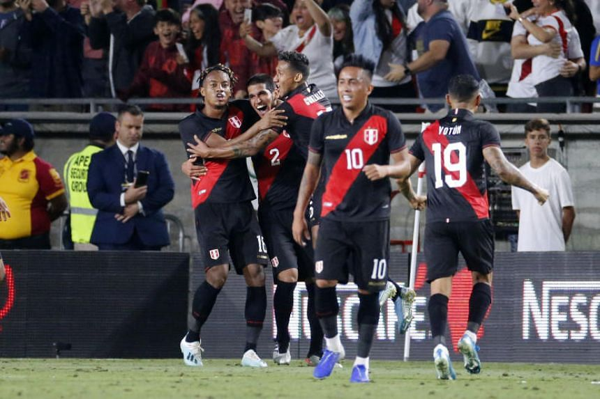 Members of the Peru soccer team celebrate their goal during the match between Peru and Brazil on Sept 10, 2019.