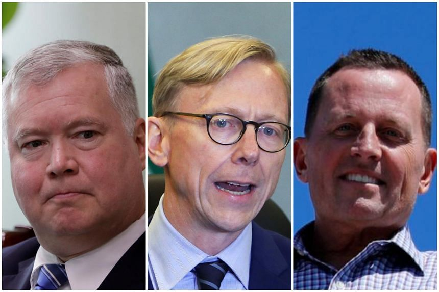 (From left) United States' special representative for North Korea Stephen Biegun, US Special Representative for Iran Brian Hook, and US Ambassador to Germany Richard Grenell.
