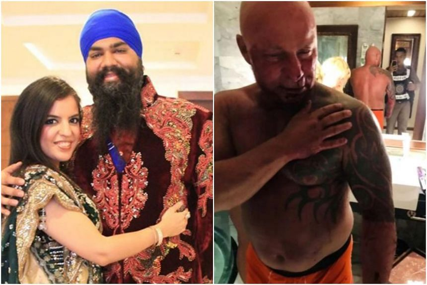 The victim, Briton Amitpal Singh Bajaj (centre) died after being held in a chokehold by Norwegian Roger Bullman (right).