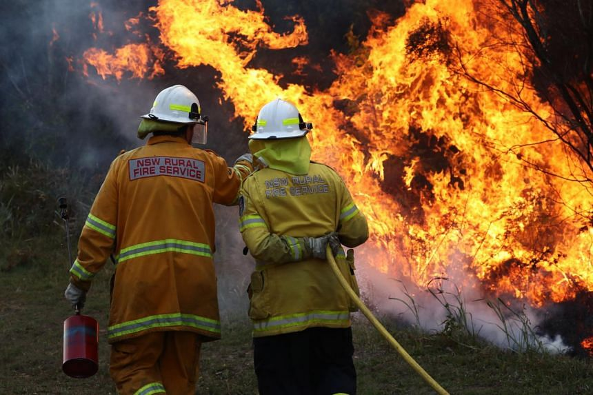 Firefighters working to contain a bushfire in Angourie, New South Wales, on Sept 10, 2019.