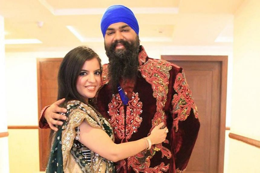 The victim, Briton Amitpal Singh Bajaj (seen here with his Singaporean wife Bandhna Kaur Bajaj) died after being held in a chokehold by Roger Bullman (right).