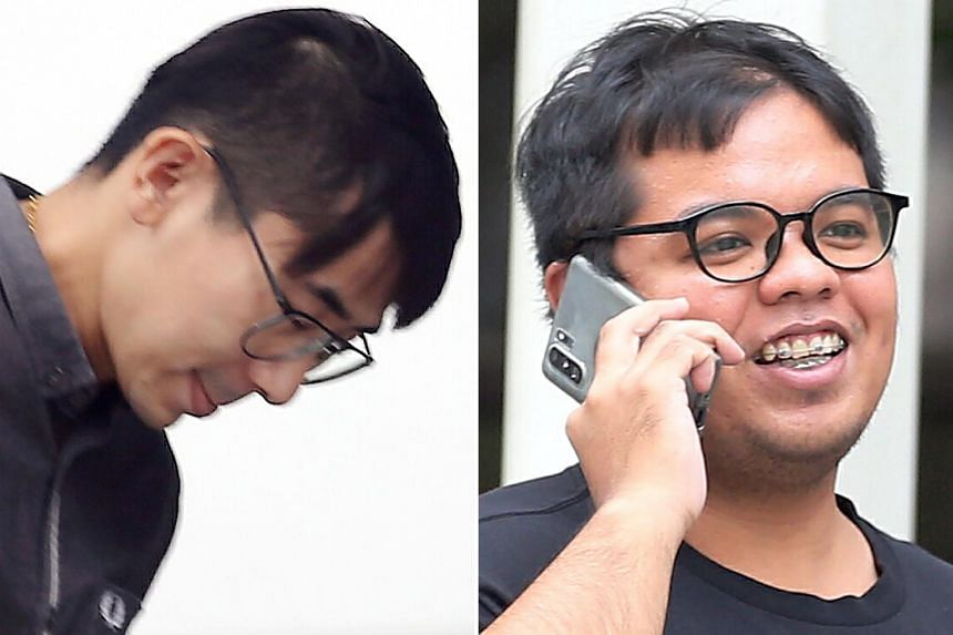 Goh Tze Ming (left) and Khairulanwar Ismail were caught driving at nearly twice the speed limit on Dec 9, 2016.