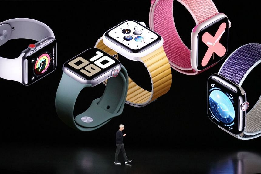 Apple CEO Tim Cook unveiling the Apple Watch Series 5 during a media event at the Steve Jobs Theatre on the Apple Park campus, Cupertino.