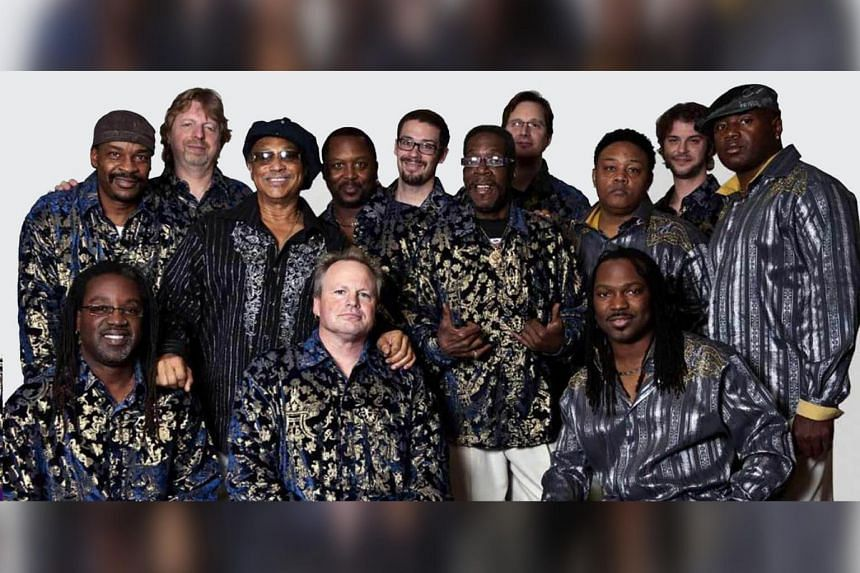 Al McKay All Stars is a 13-piece tribute band put together by McKay (third from left, standing) the former guitarist of the legendary funk and soul band Earth, Wind & Fire.