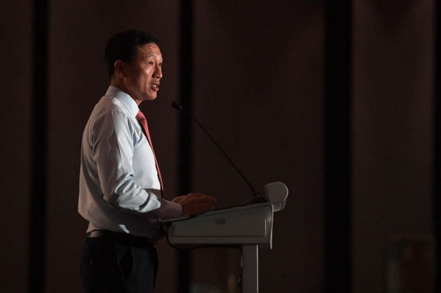 In a photo taken on Sept 5, Minister for Education Ong Ye Kung is seen speaking at an awards ceremony at the Fairmont Ballroom.