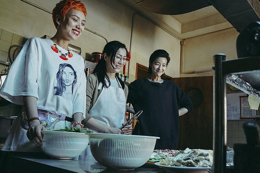 "Hong Konger Acacia (Sammi Cheng, centre) discovers her ""half-sisters"" - Cherry (Li Xiaofeng, left) from China and Branch (Megan Lai, right) from Taiwan - when they show up at her father's funeral in Fagara."