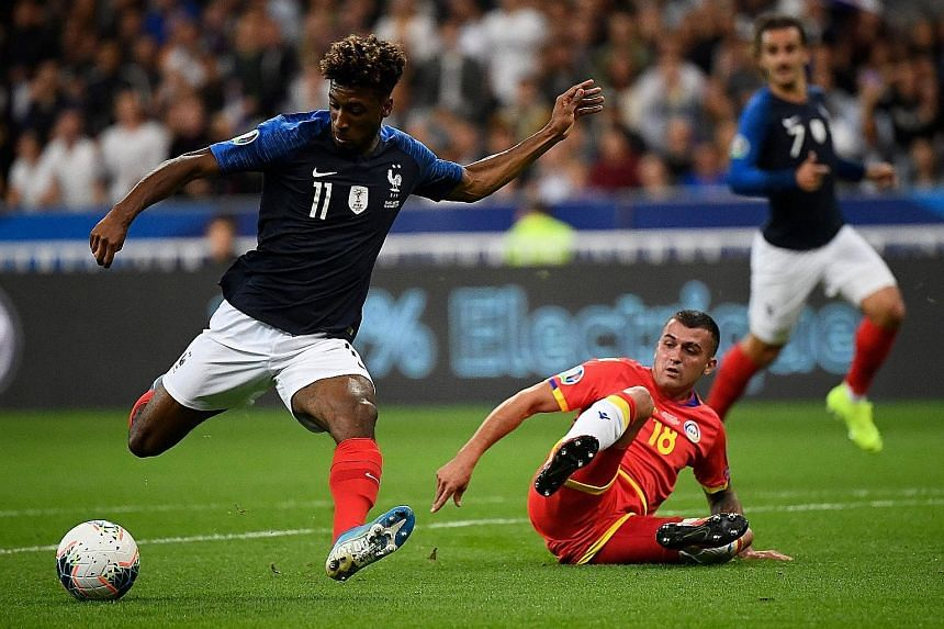 Forward Kingsley Coman opening the scoring for France in the 3-0 win over Andorra in their Euro 2020 qualifying match at the Stade de France on Tuesday. Les Bleus are tied with Turkey at the top of Group H. PHOTO: AGENCE FRANCE-PRESSE