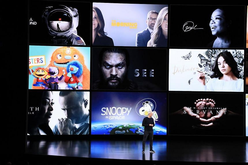 Tim Cook, Apple's CEO, discusses Apple TV+ and its programming at an annual product launch event in Cupertino, California, on Sept 10, 2019.