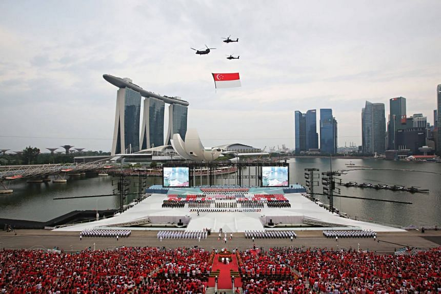 The State Flag flypast at the parade held at the floating platform in Marina Bay.