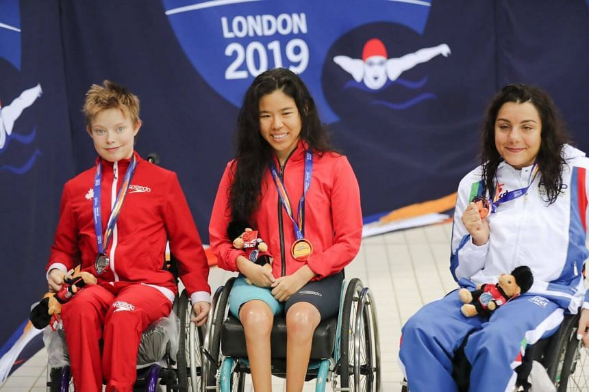 National swimmer Yip Pin Xiu clocked a time of 2min 18.61sec, ahead of Aly van Wyck-Smart of Canada (2:39.27) (left) and Angela Procida of Italy (2:42.71).