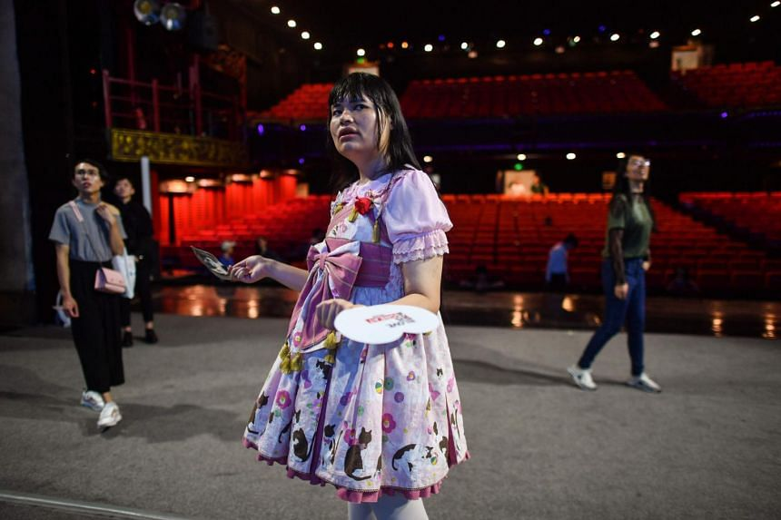 Transgender Alice, a member of the Trans Chorus, during rehearsal at a theatre one day before the group's musical presentation at a festival in the city of Chengdu in China's Sichuan province.