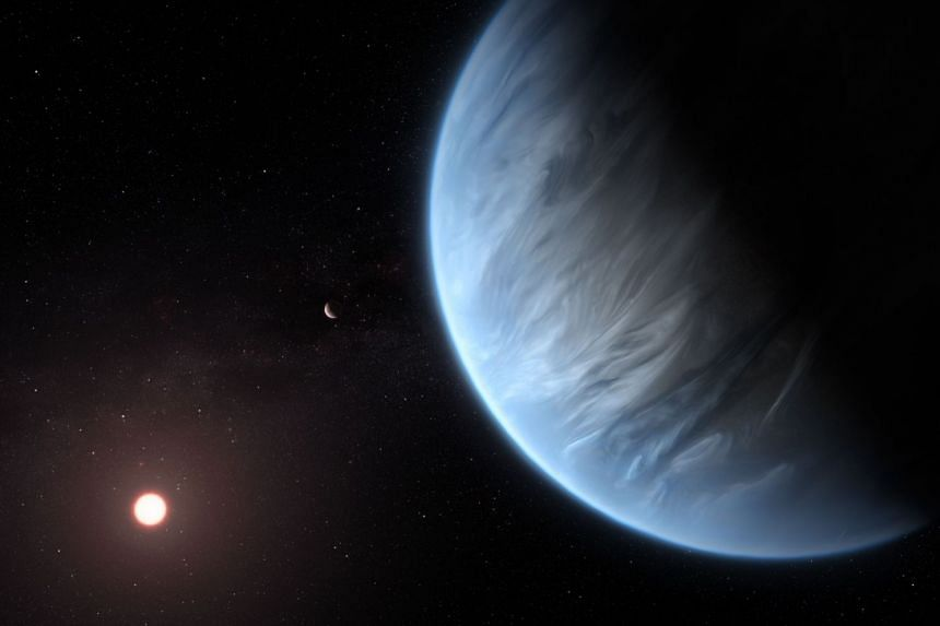 An artist's impression released on Sept 11, 2019, by ESA/Hubble shows the K2-18b super-Earth.
