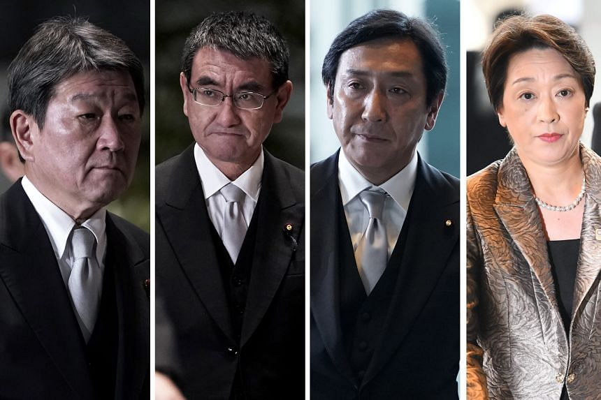 Notable faces in Mr Shinzo Abe's Cabinet: (from left) Foreign Minister Toshimitsu Motegi, Defence Minister Taro Kono, Economy, Trade and Industry Minister Isshu Sugawara, and Olympics and Paralympics Minister and Minister for Gender Equality Seiko Ha