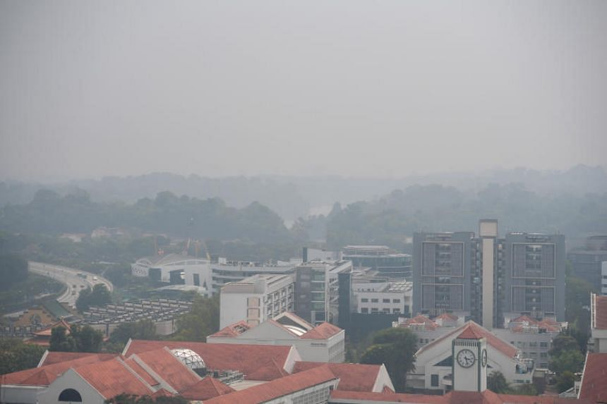 A photo taken on Sept 12 shows the haze situation in the central part of Singapore at 3.25pm.