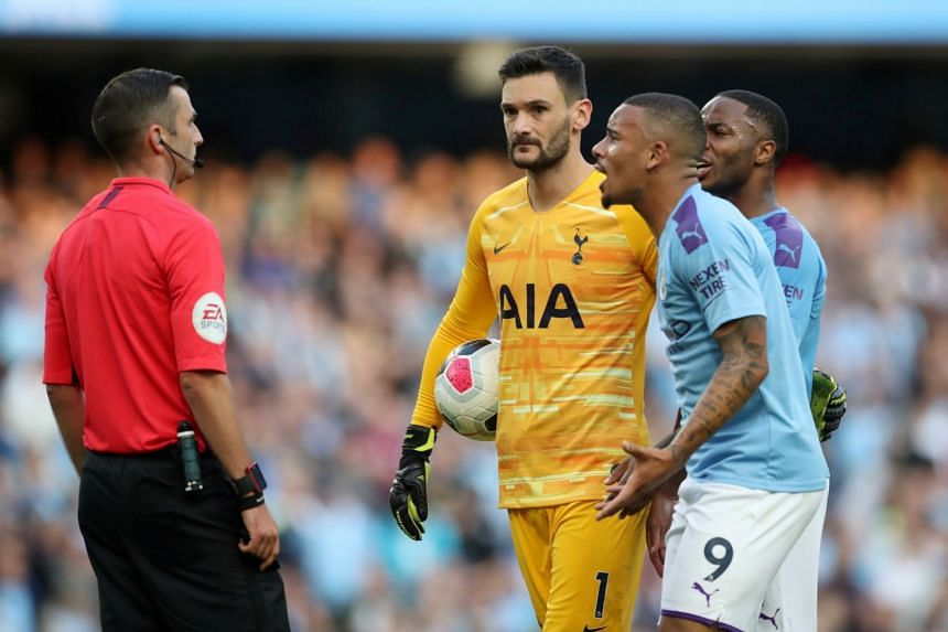 Manchester City's Gabriel Jesus remonstrates with referee Michael Oliver after his goal is disallowed following a VAR review.