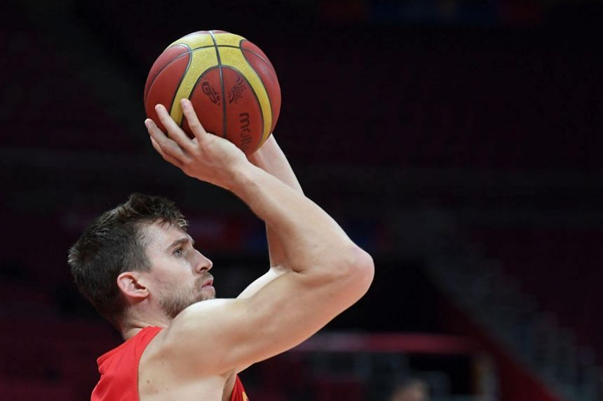 Spain's Xavier Rabaseda at a practice session before the Basketball World Cup semifinal against Australia in Beijing, on Sept 12, 2019.