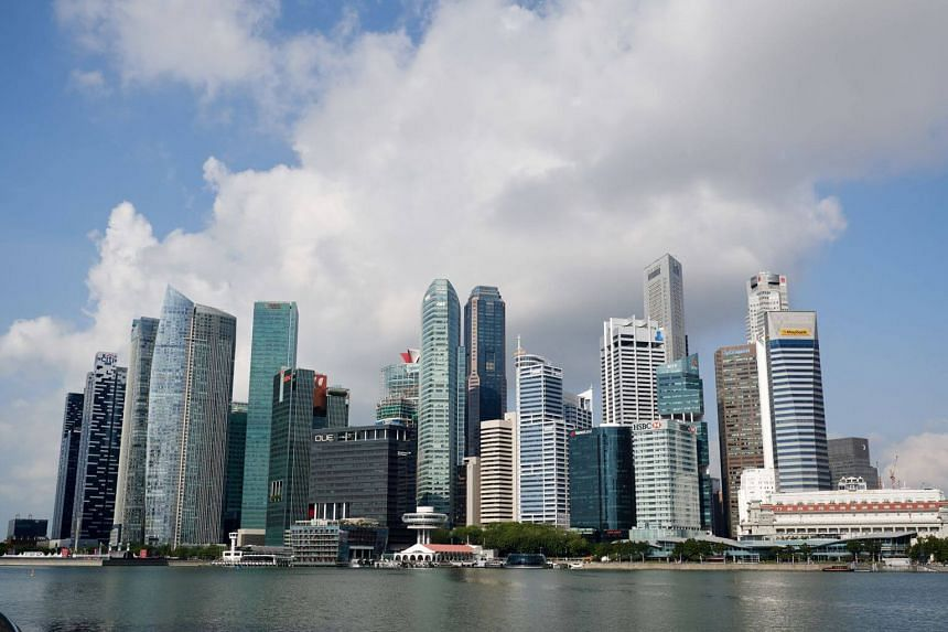 Singapore's central business district seen from Marina Bay, on March 19, 2018.