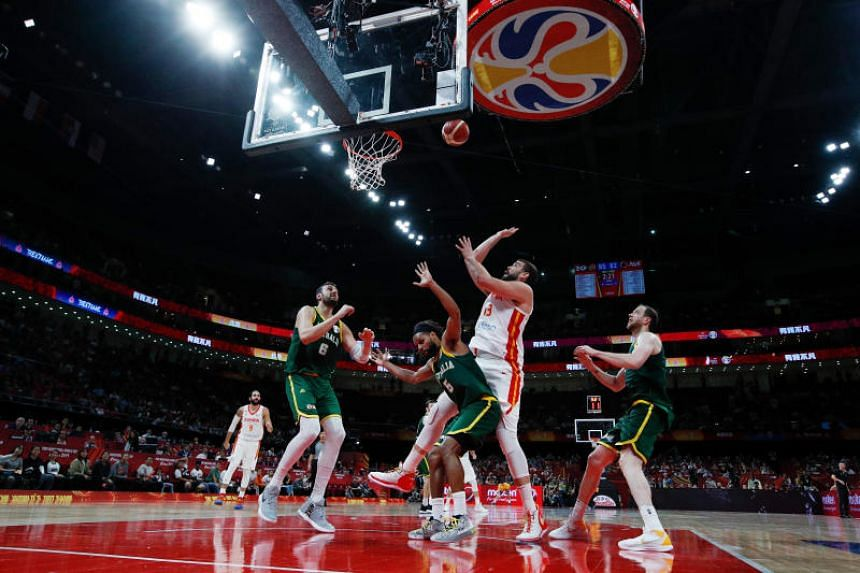 Spain's Marc Gasol takes a shot during the Basketball World Cup semi-final match against Australia in Beijing on Sept 13, 2019.