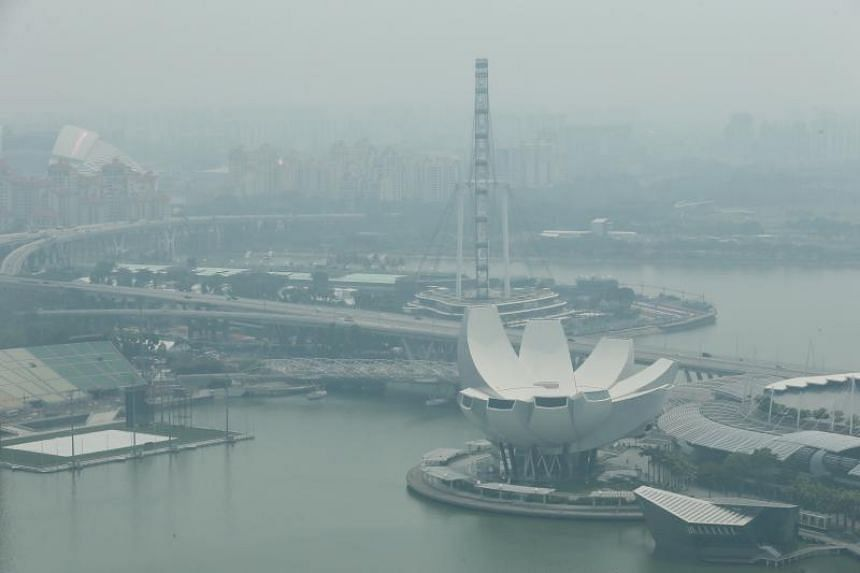 Haze over central Singapore at around 11.15am on Sept 13, 2019.