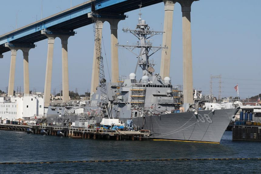 In a file photo taken on April 12, 2015, the USS Wayne E. Meyer (DDG-108) Arleigh Burke-class Destroyer sits docked in San Diego, California.