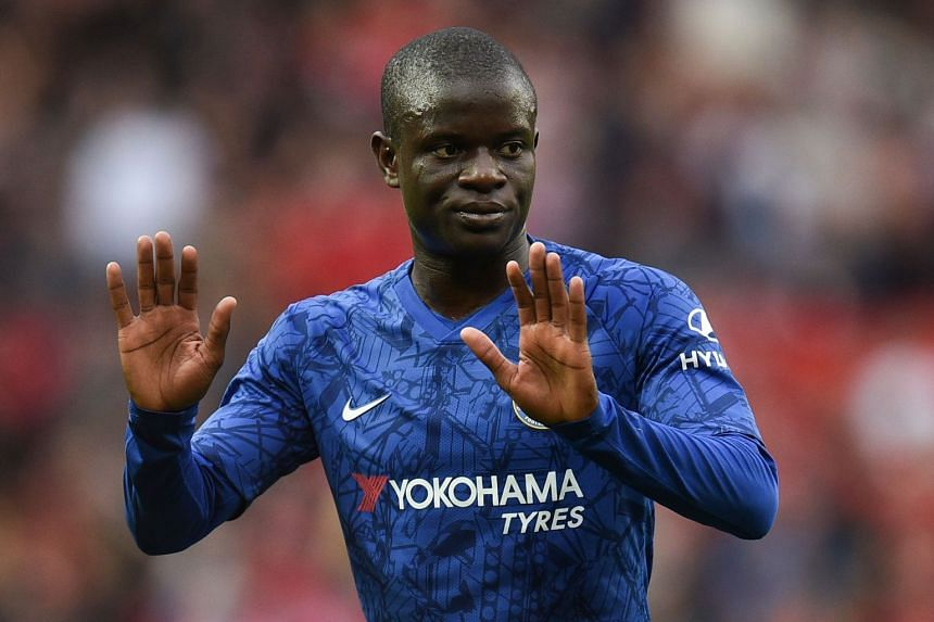 Chelsea's French midfielder N'Golo Kante reacts on the pitch at the final whistle.