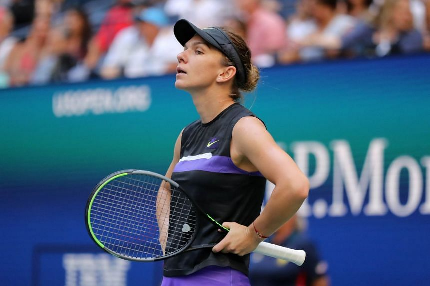 Halep reacts during her match against the US' Taylor Townsend on day four of the 2019 US Open.