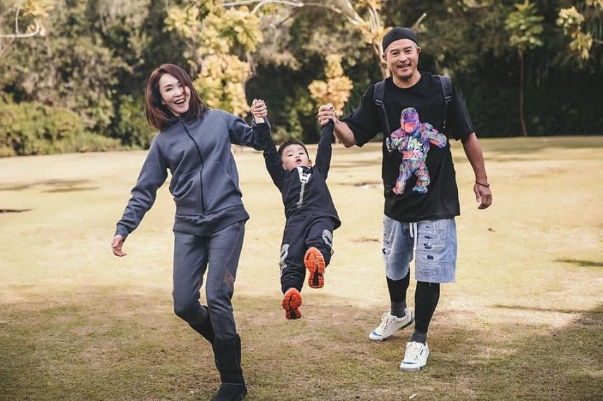 Christopher Lee and Fann Wong with their son Zed. Though he likes to socialise, Lee said he had to alter his habits to ensure no misunderstanding on his wife's part.