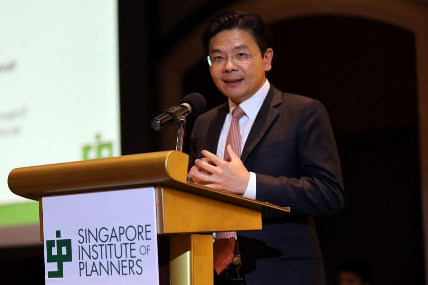 Minister for National Development Lawrence Wong speaking at the Singapore Institute of Planners' Planning Awards Presentation Dinner, where planners, designers and related design consultancy firms were recognised for their work in both local and over