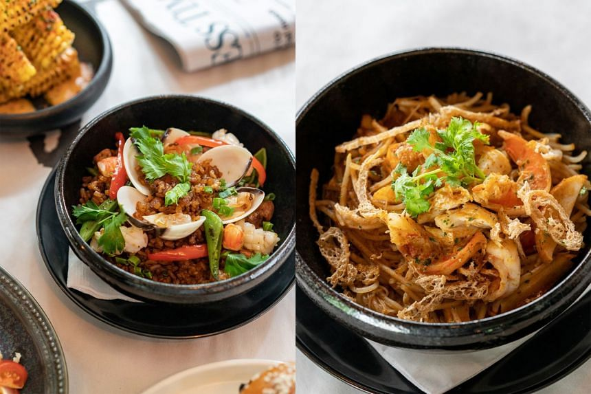 Wok Smoked Paella (left) and Fried Laksa Noodle