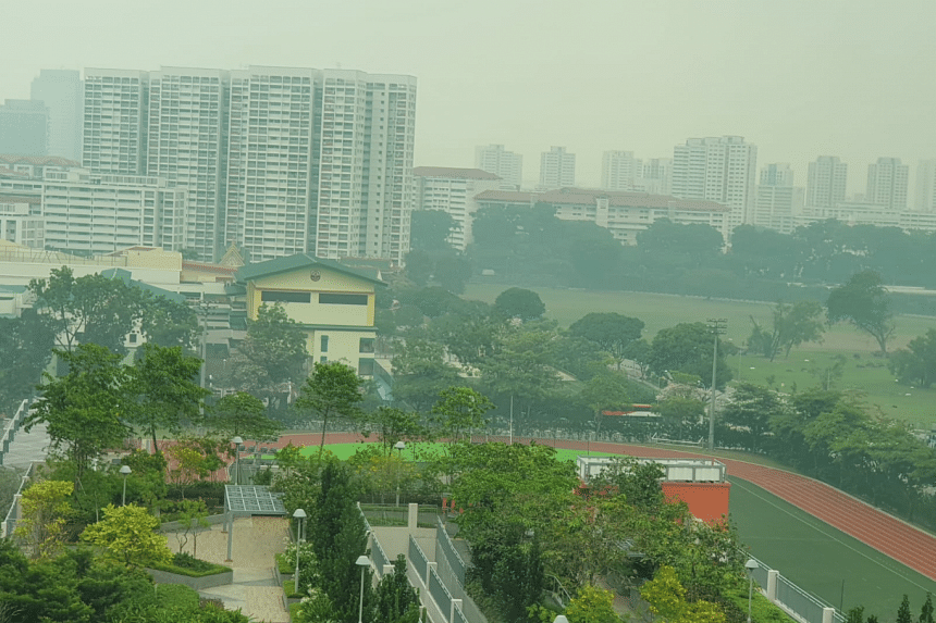A photo taken in Bukit Batok West shows haze over the neighbourhood in the afternoon on Sept 14, 2019.