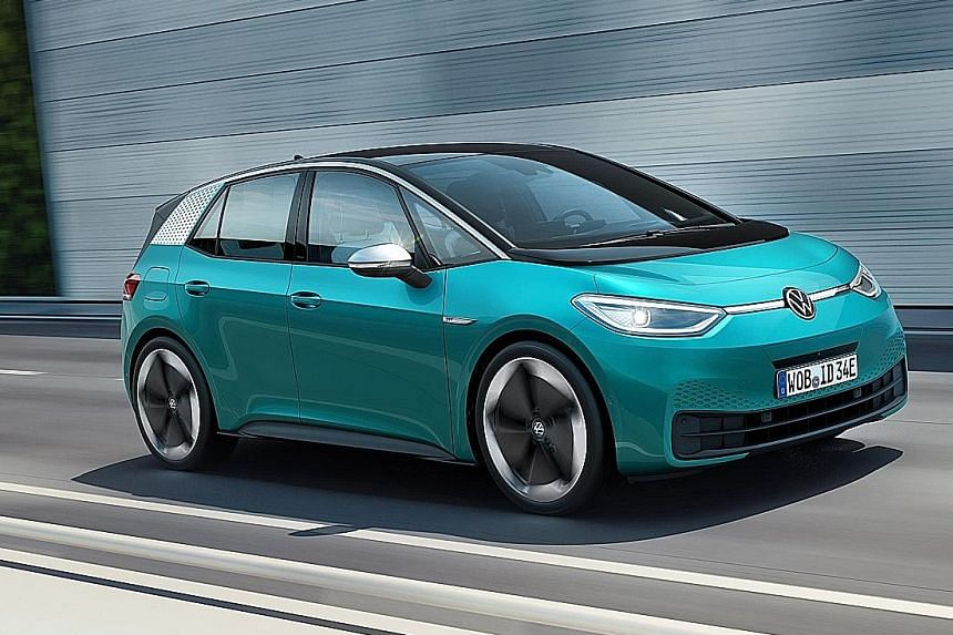 Volkswagen's long anticipated ID3 electric car (above) is priced below €30,000 (S$45,500), making it slightly costlier than the VW Golf.